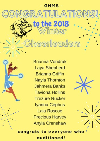 List of names of students who made cheerleading squad