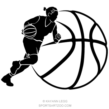 Caricature of a girl basketball player imposed over a basketball.