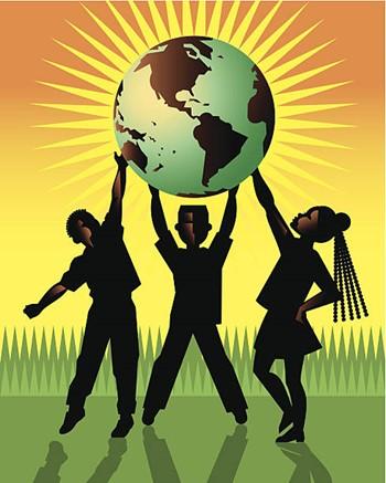 African American children holding a globe