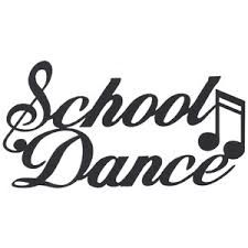 "Script words saying ""School Dance"" with a musical note."