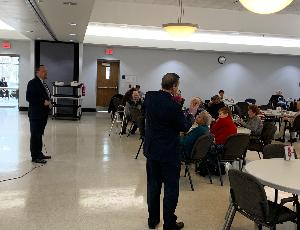 Superintendent Chris Hanke and Treasurer Al Sluka Visit Senior Center