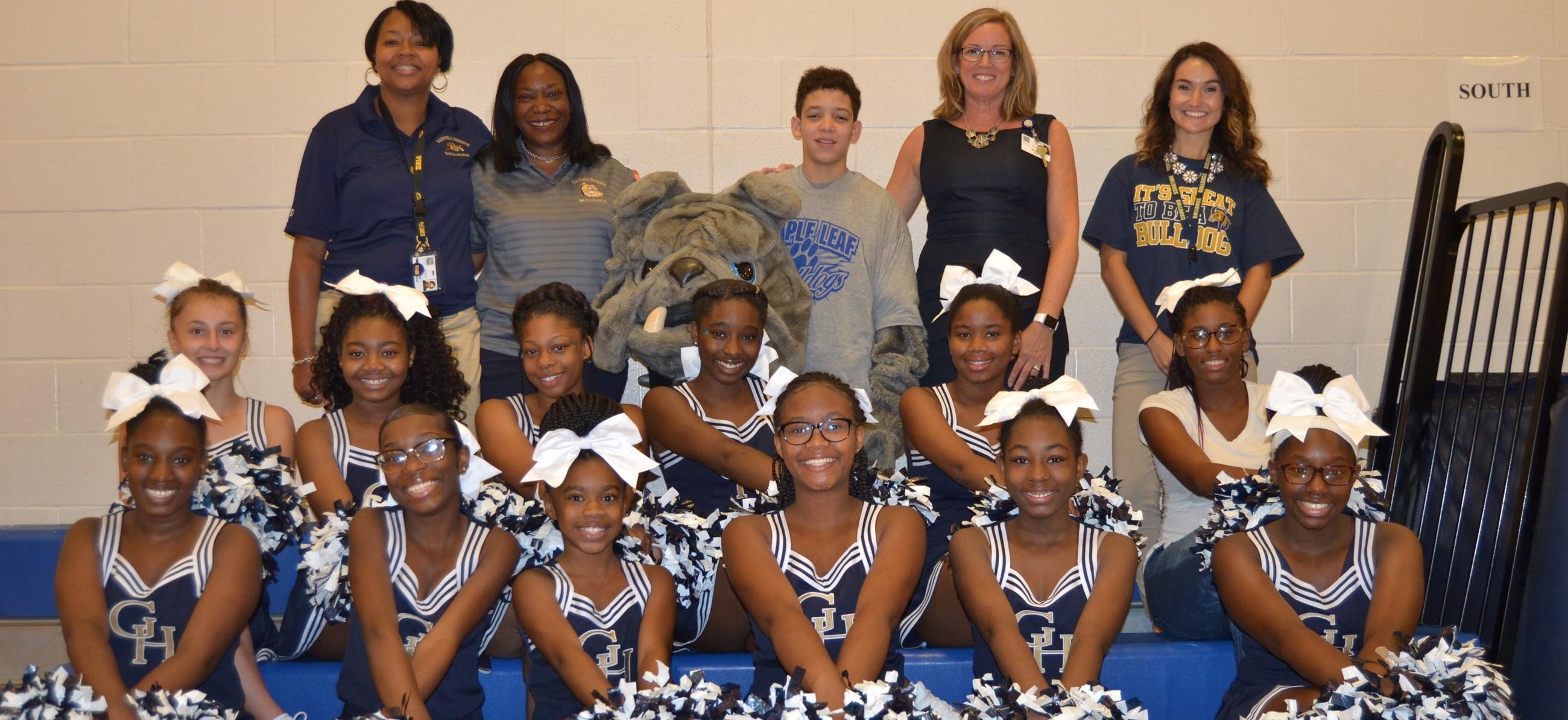 Middle School cheerleaders at Maple Leaf