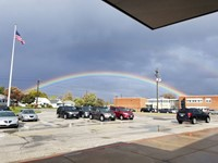Evacuation started with a Rainbow over the building