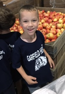 Jaxon Harrinton in  the Apple Cooler.