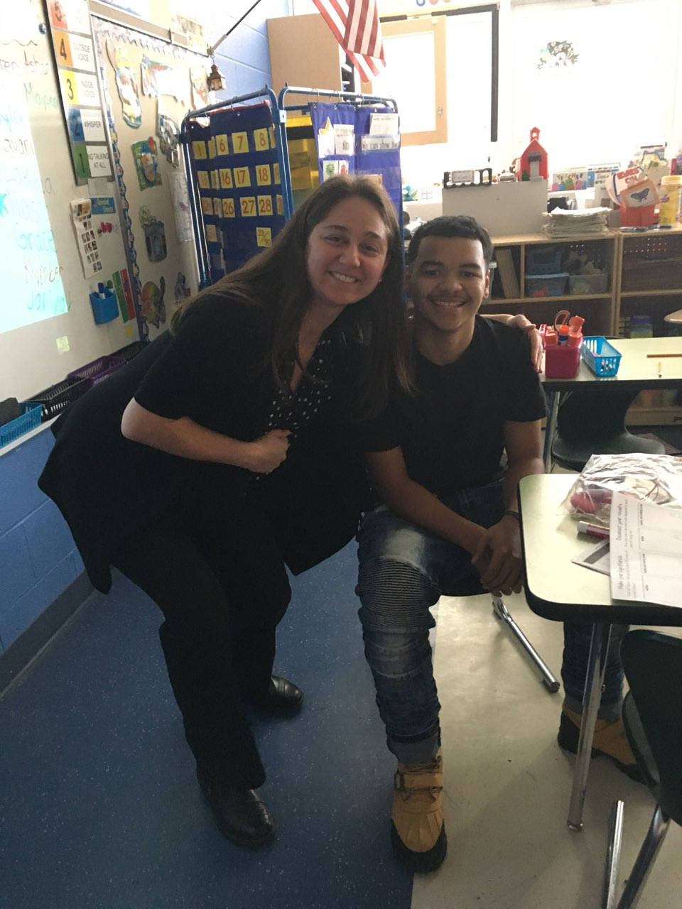 Mrs. Halusker with a Learning Center student teacher
