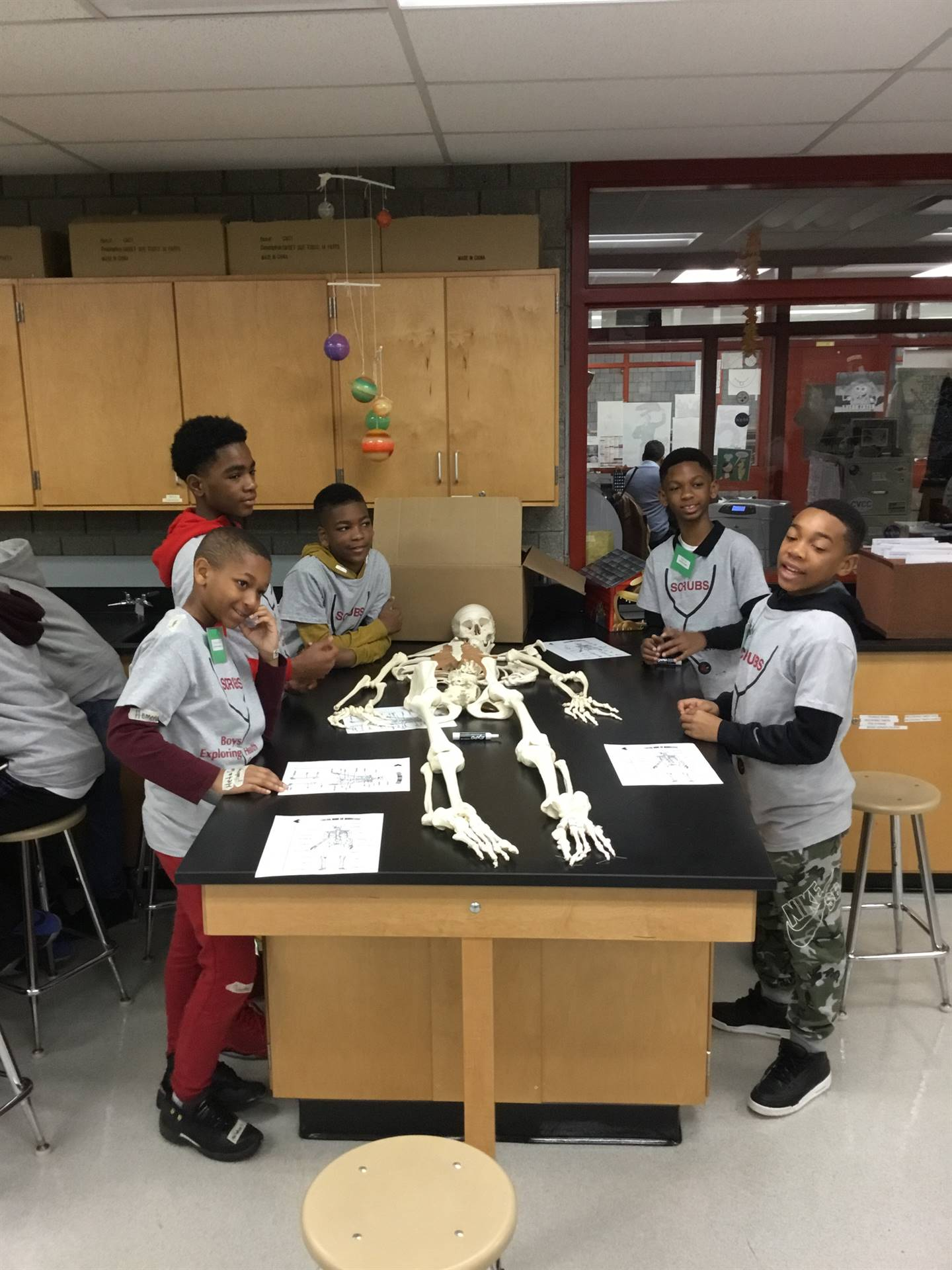 students with a human skeleton