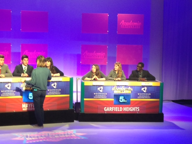 students preparing for the academic challenge show