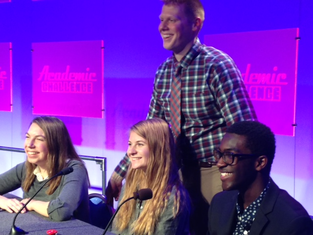close-up of academic challenge team and coach