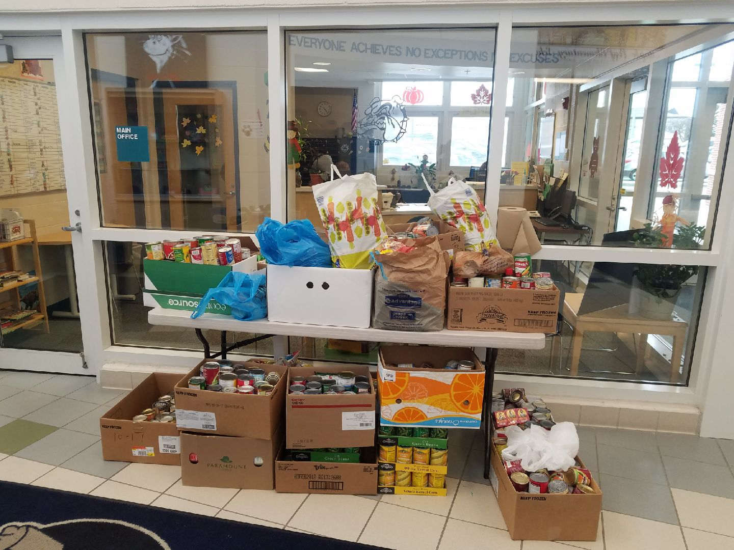 bags and boxes of canned goods