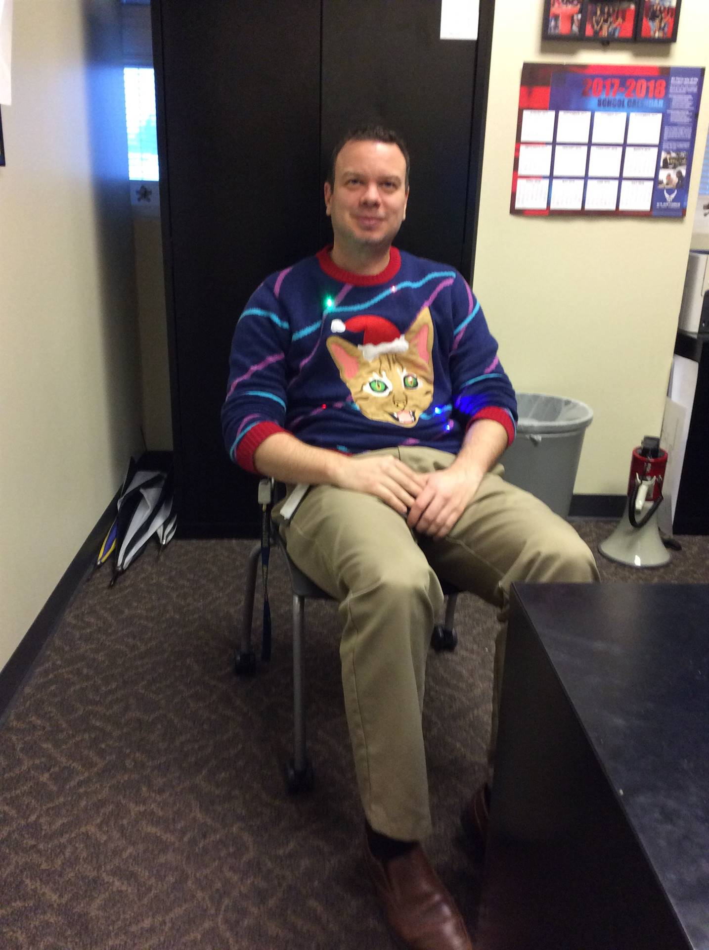 holiday sweater contest participant