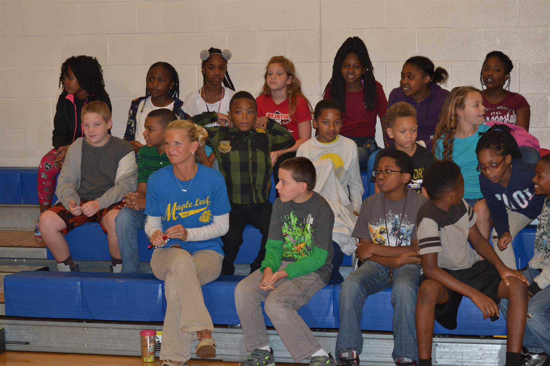 students in Mrs. Emery's class at Maple Leaf PAWS Assembly
