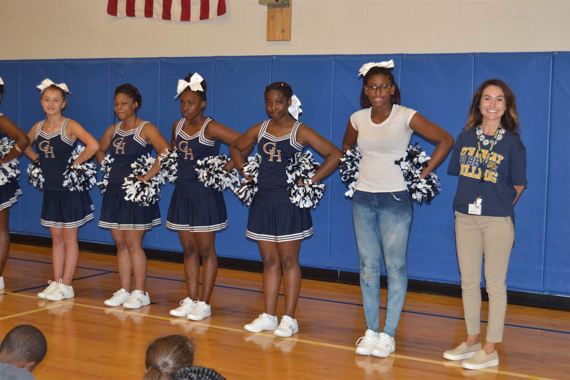 Middle School cheerleaders at the Maple Leaf PAWS assembly