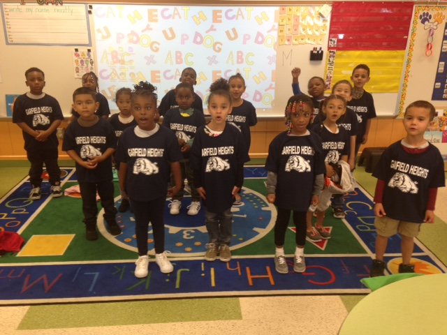 Elmwood Kindergarten students receiving Bulldog Graduation T-Shirts