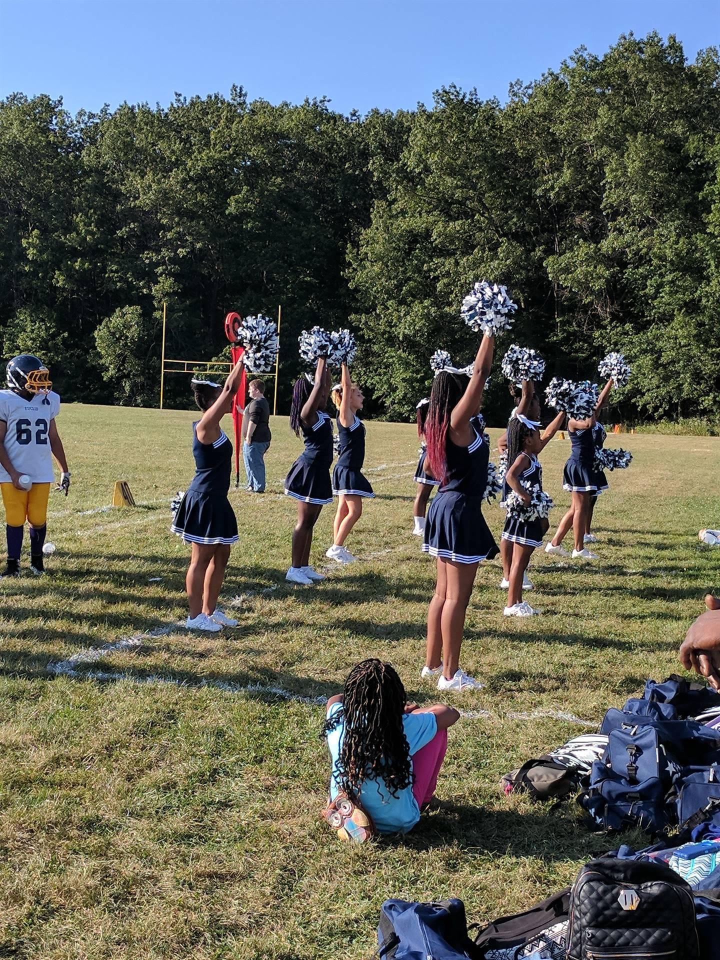 Cheerleaders at the football game
