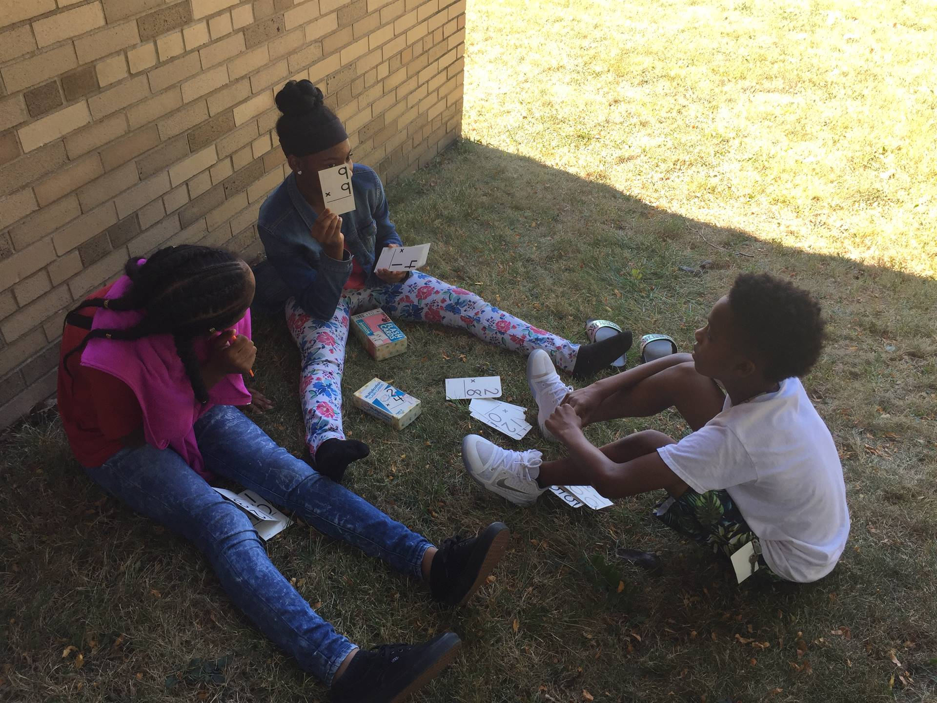 Math Lab outside working on math facts