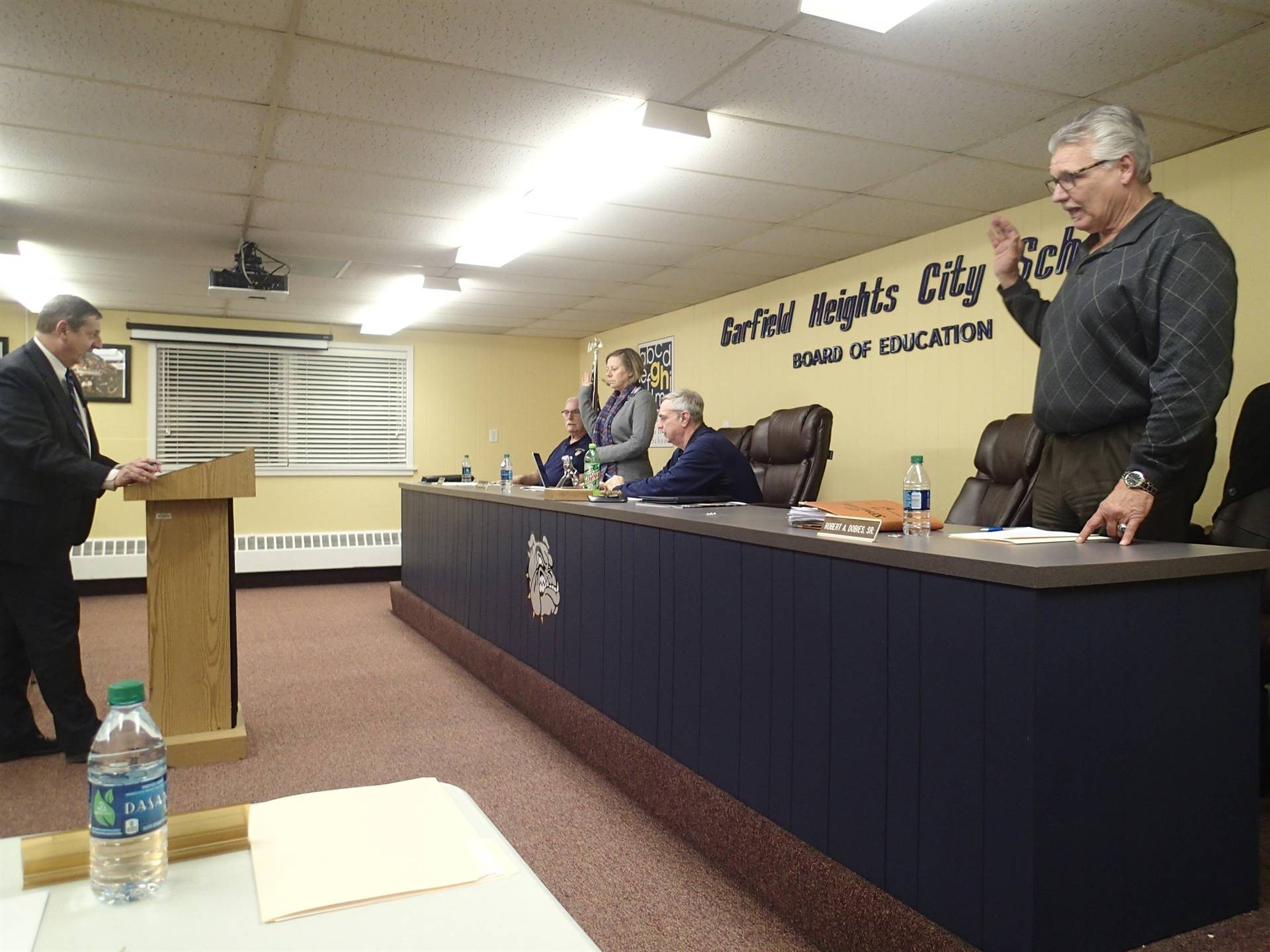 Robert Dobies during the swearing in ceremony for the Garfield Heights Board of Education