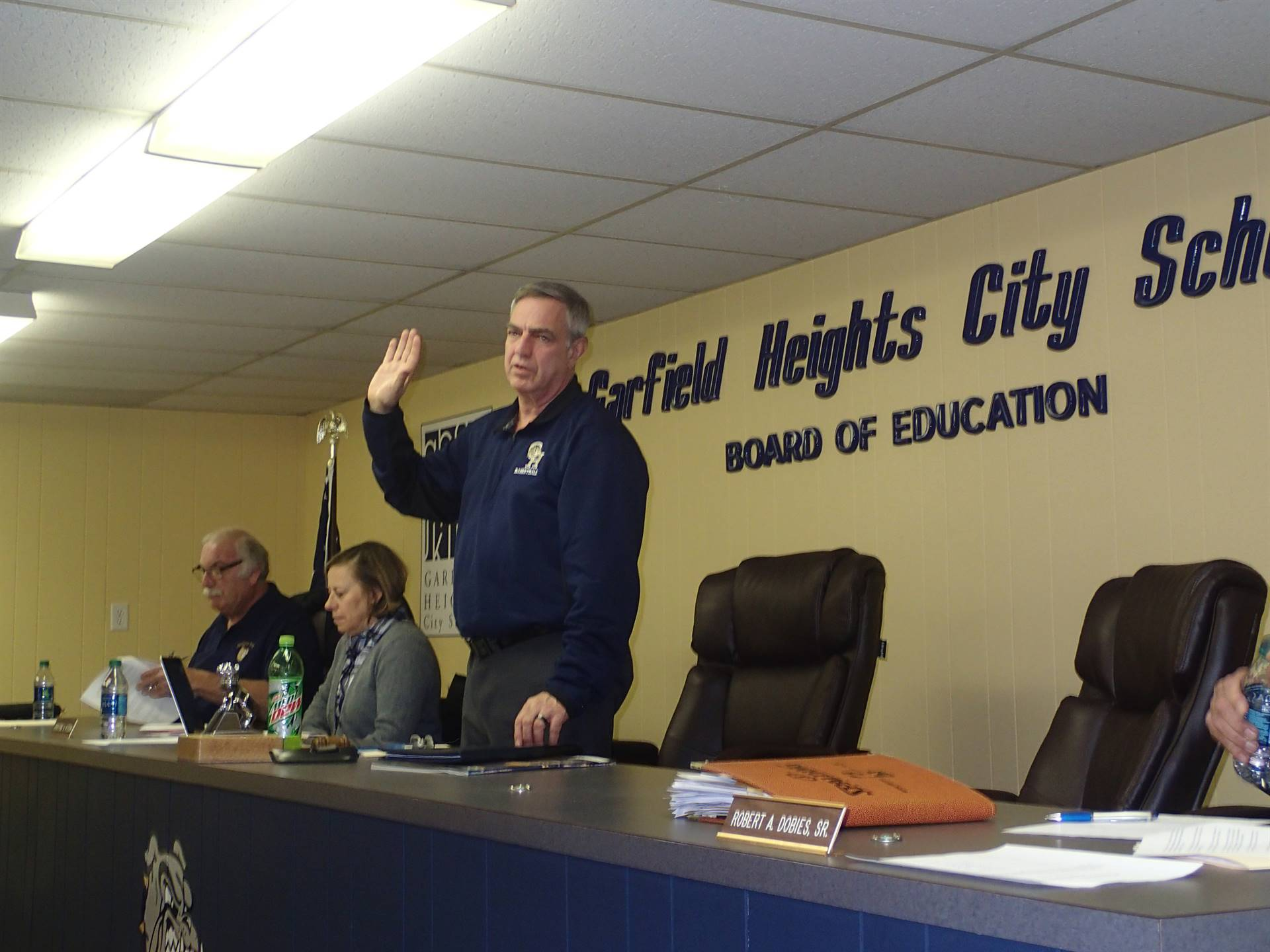 Gary Wolkse during the swearing in ceremony for the board of education