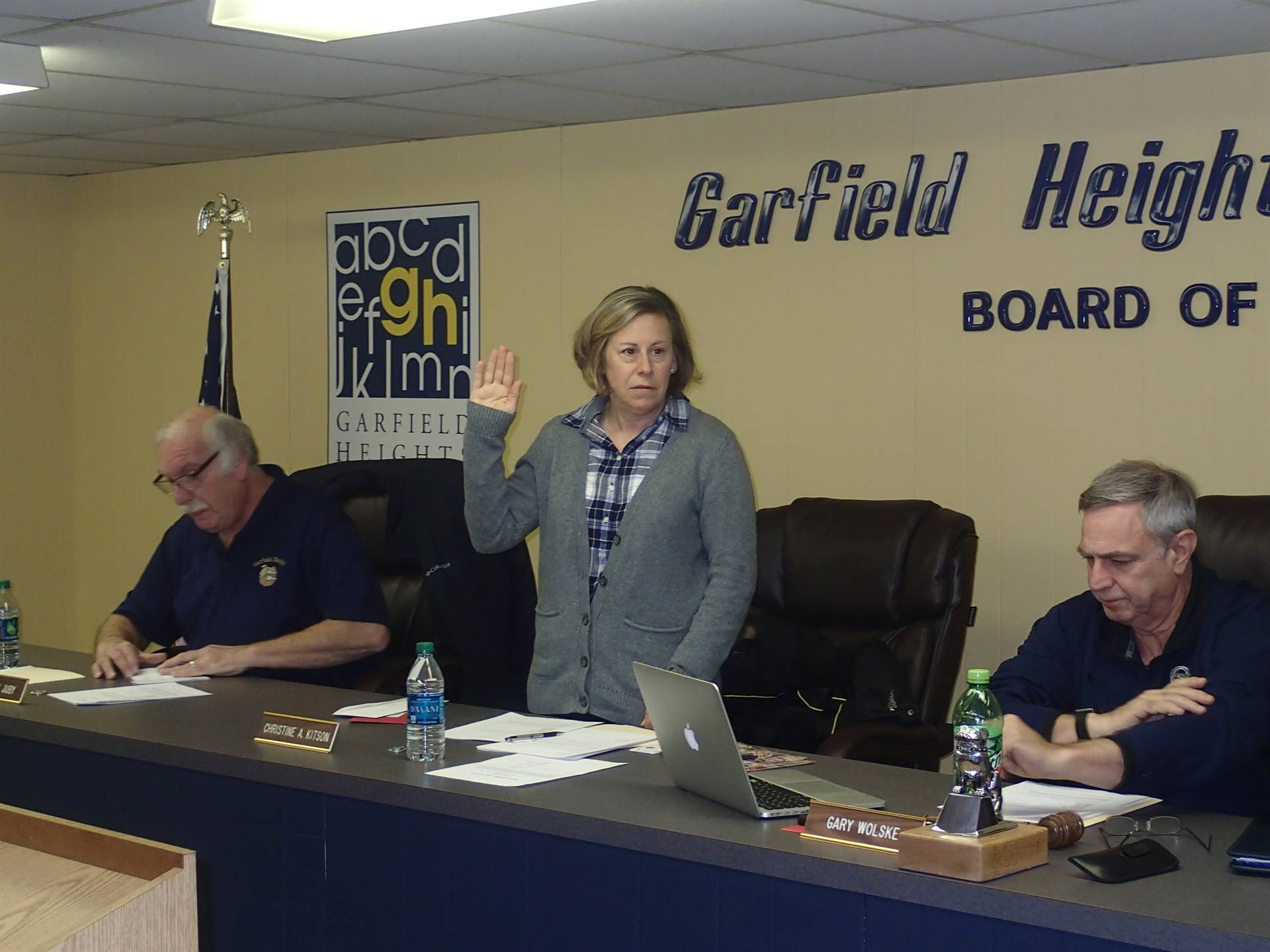 Christine Kitson during the swearing in ceremony for the board of education