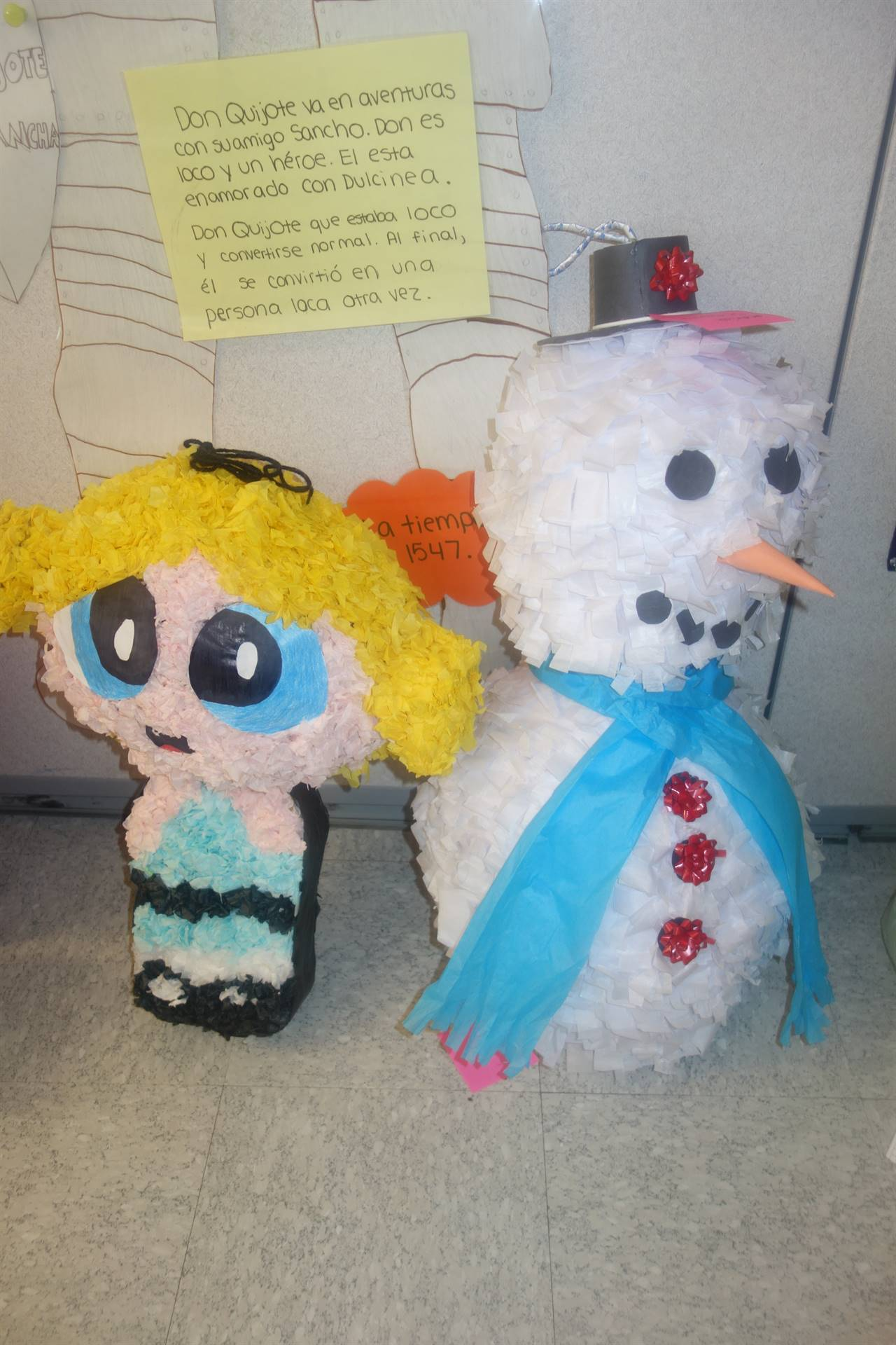 Powder Puff Girl and Frosty the Snowman pinatas