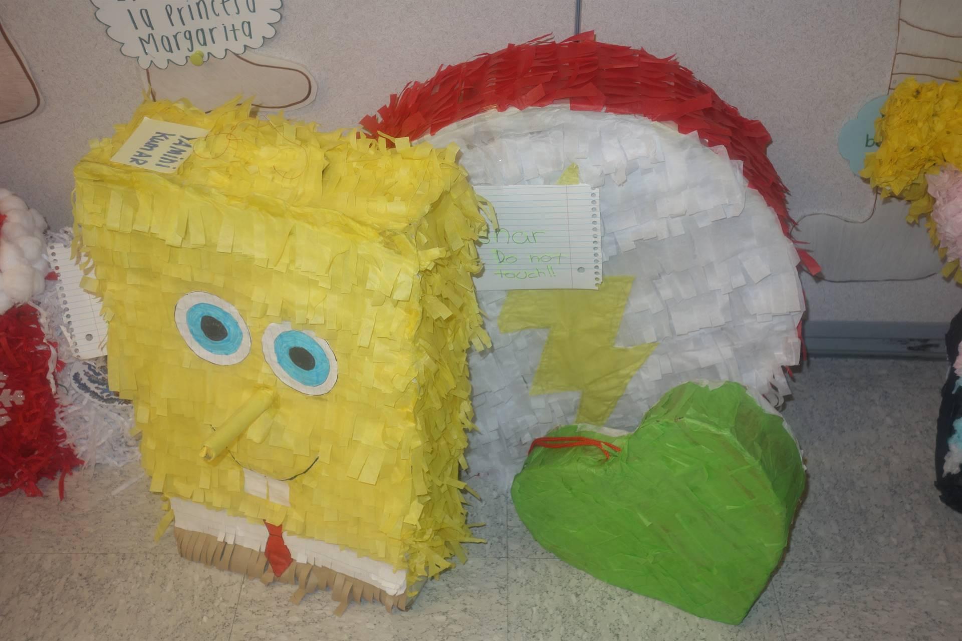 Spongebob and heart pinatas