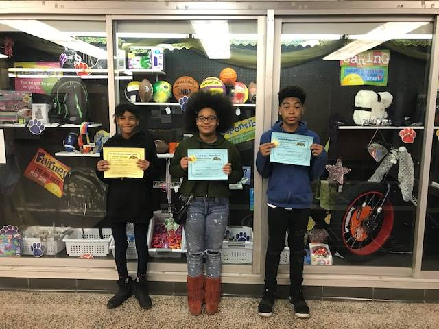 Students with their Positive Behavior Certificates