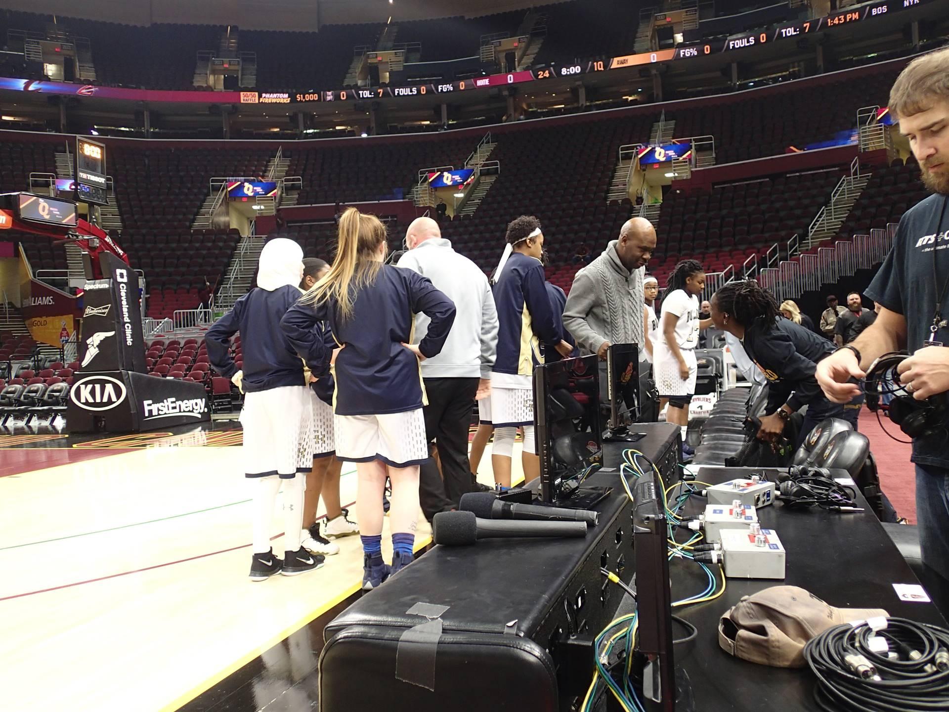 Girls basketball team at the Q