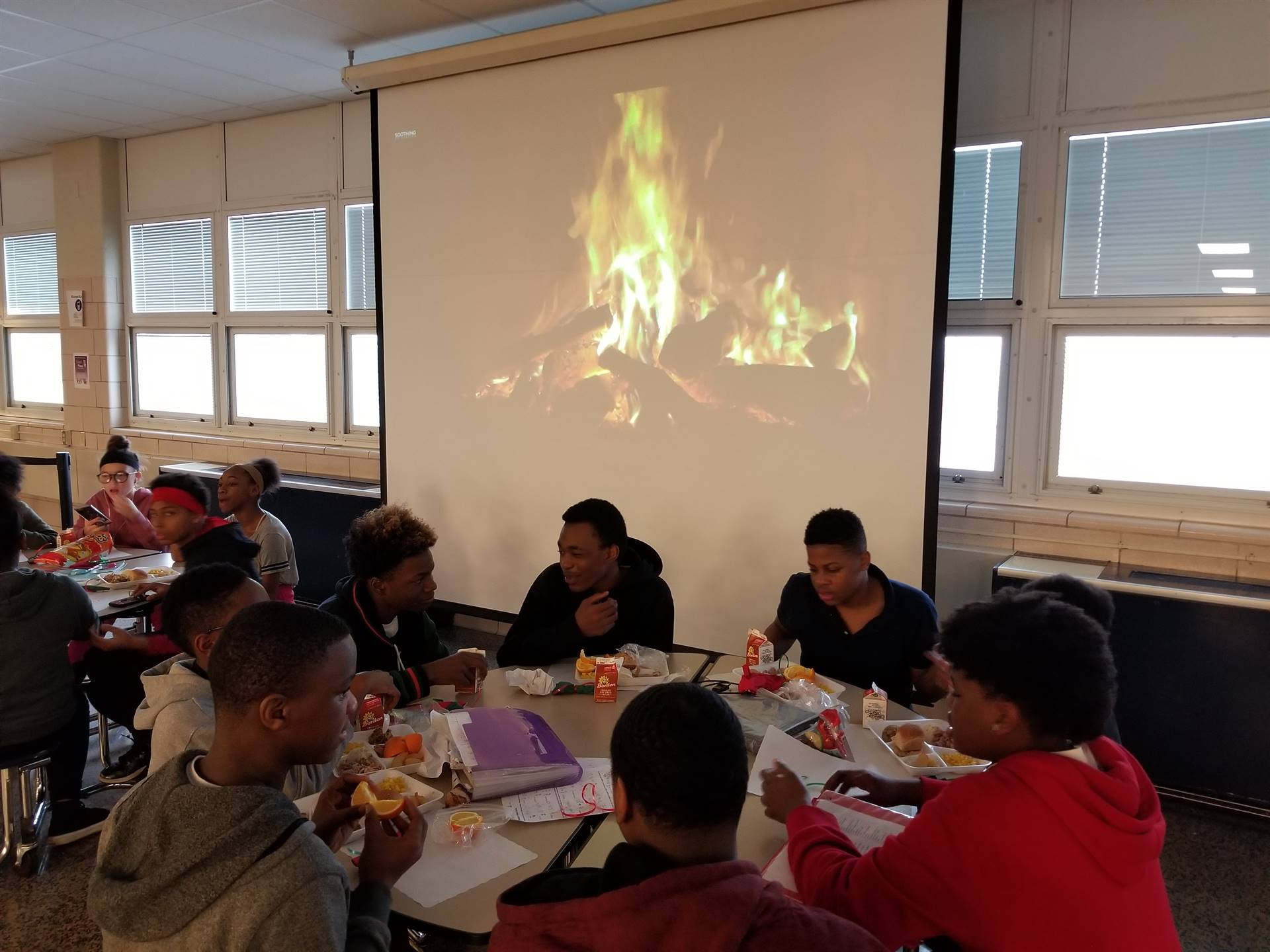 Students dining in the cafeteria.