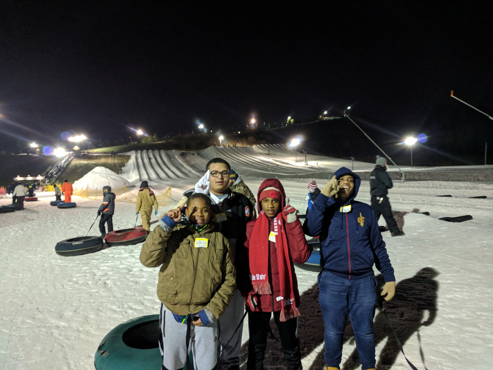 students in front of the tubing area