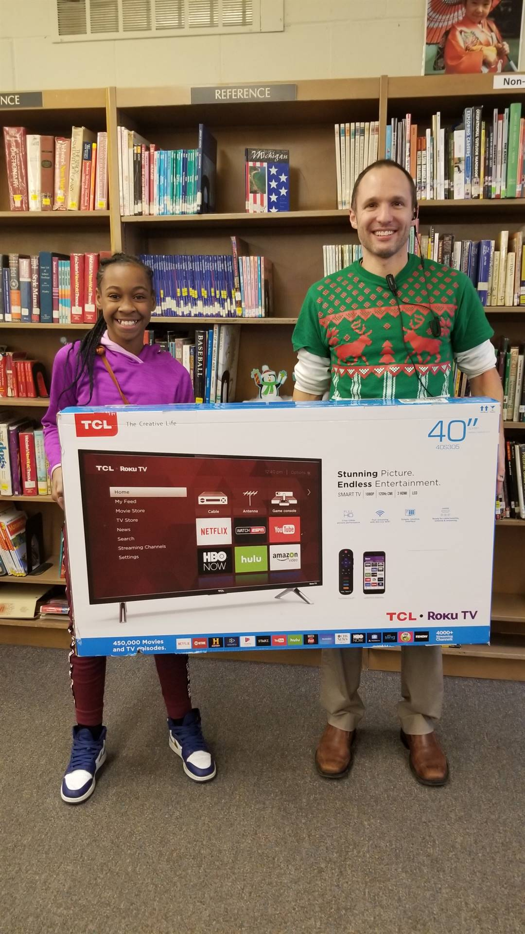 Amia Turpin won a 40-inch TV for the PBIS contest
