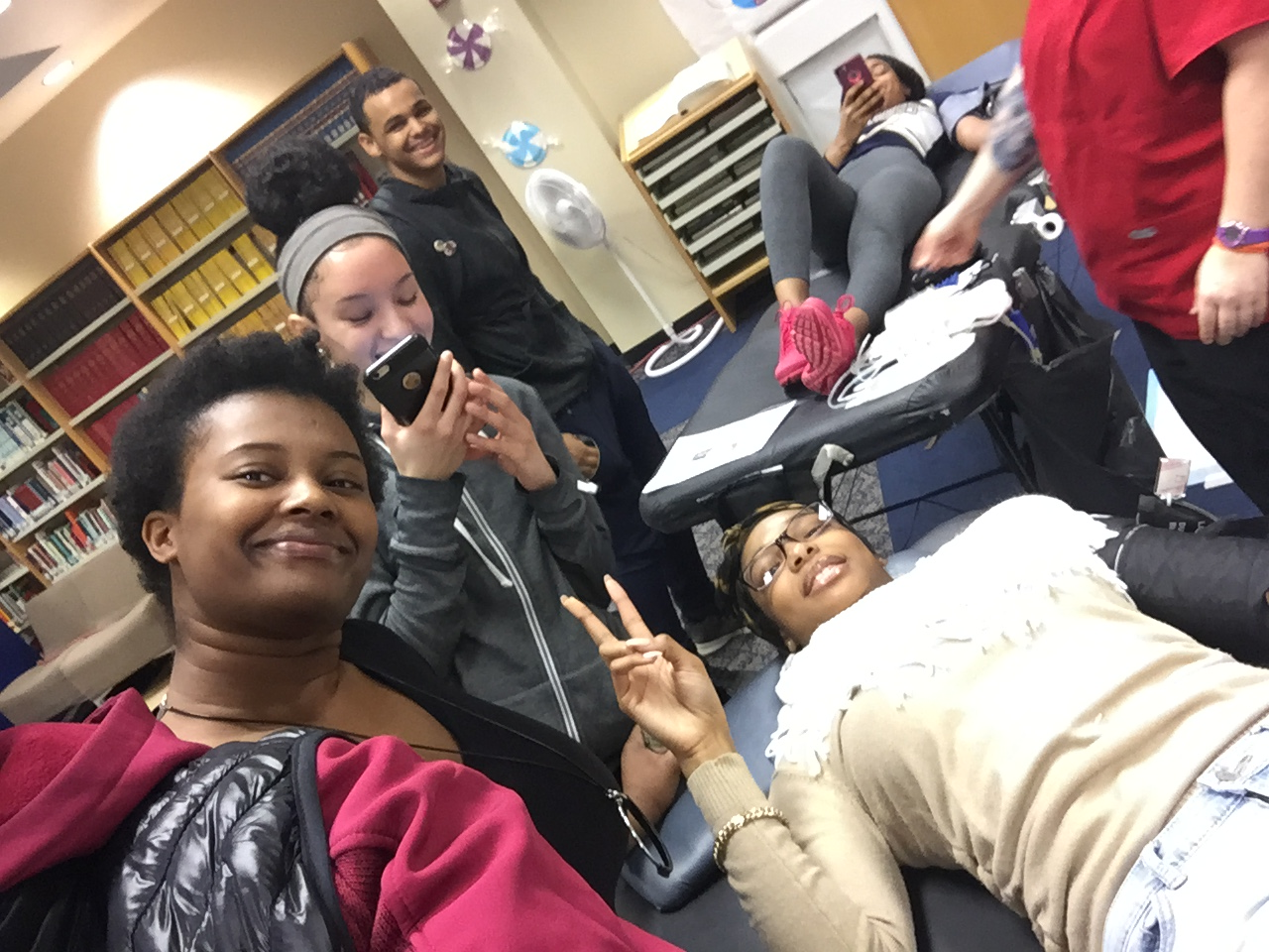 students donating blood