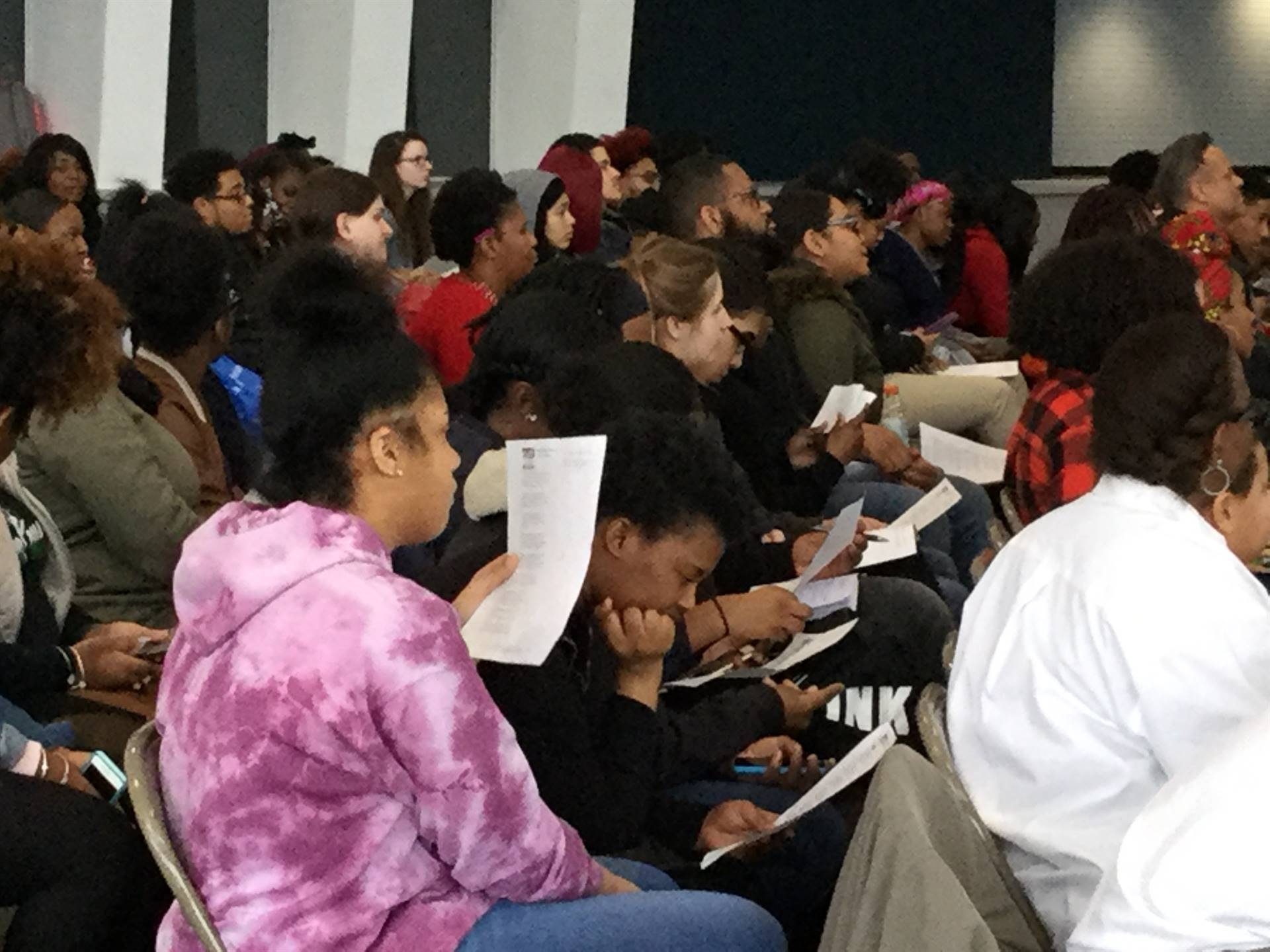 students at the poetry read-in
