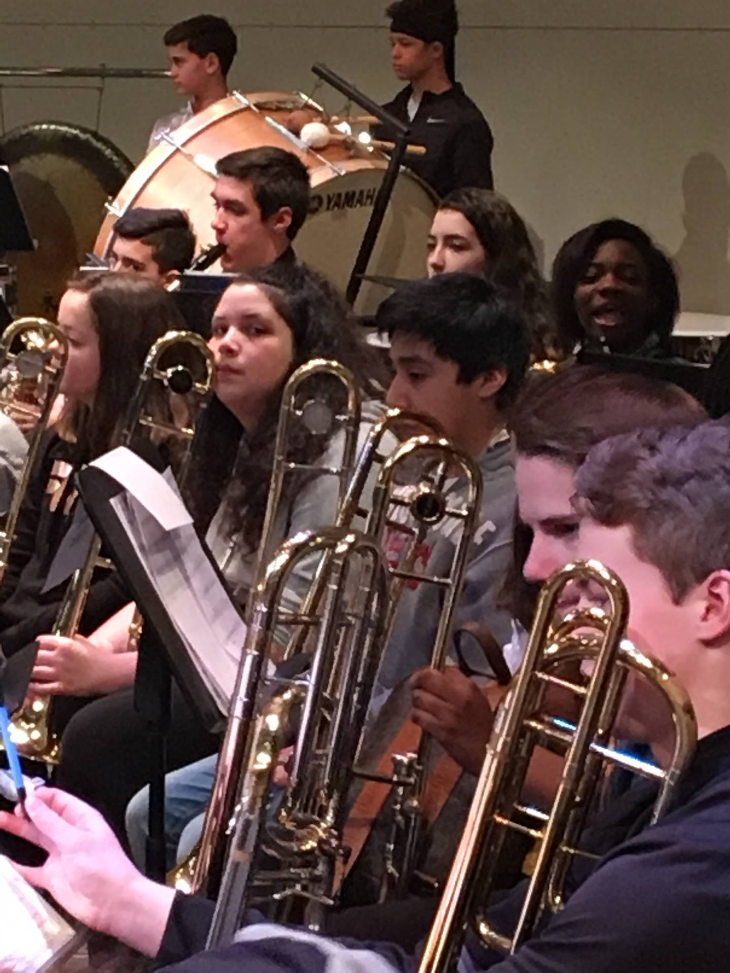 students practicing for the Honor Band performance