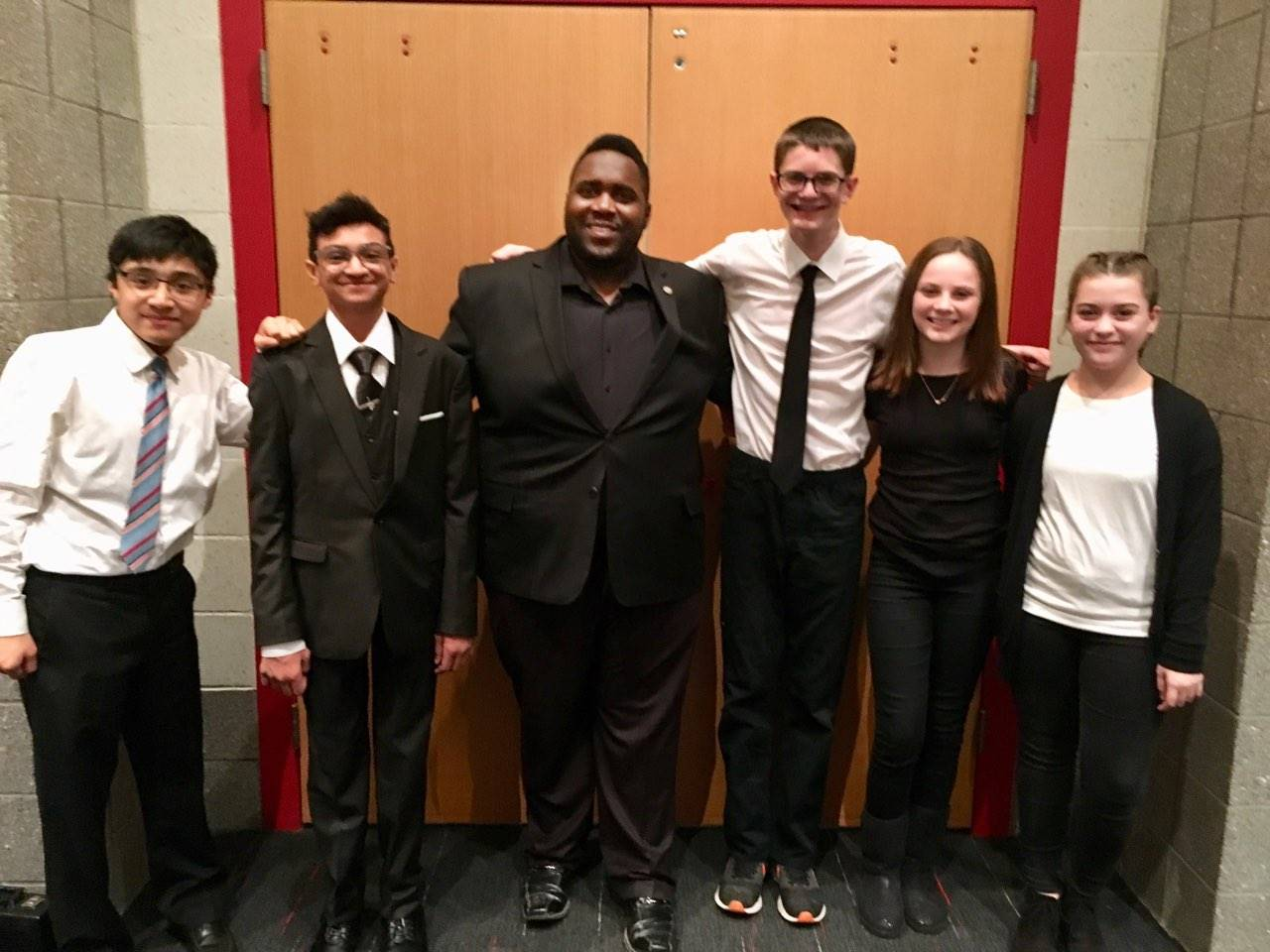 Garfield Heights student musicians with Mr. Pope