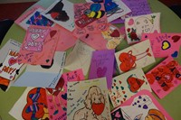 K-Club making cards for Valentine's Day