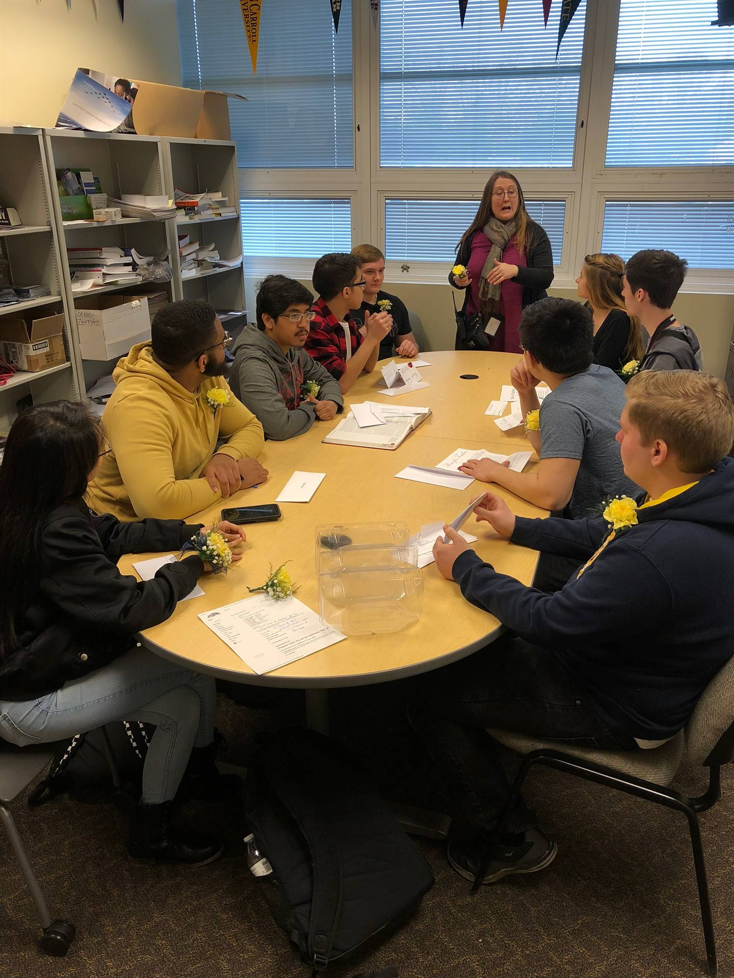 Top 10 students meeting with principal
