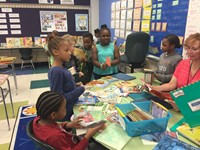 students shopping at the free book fair