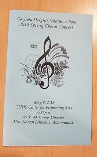 MS Spring Choir Concert program