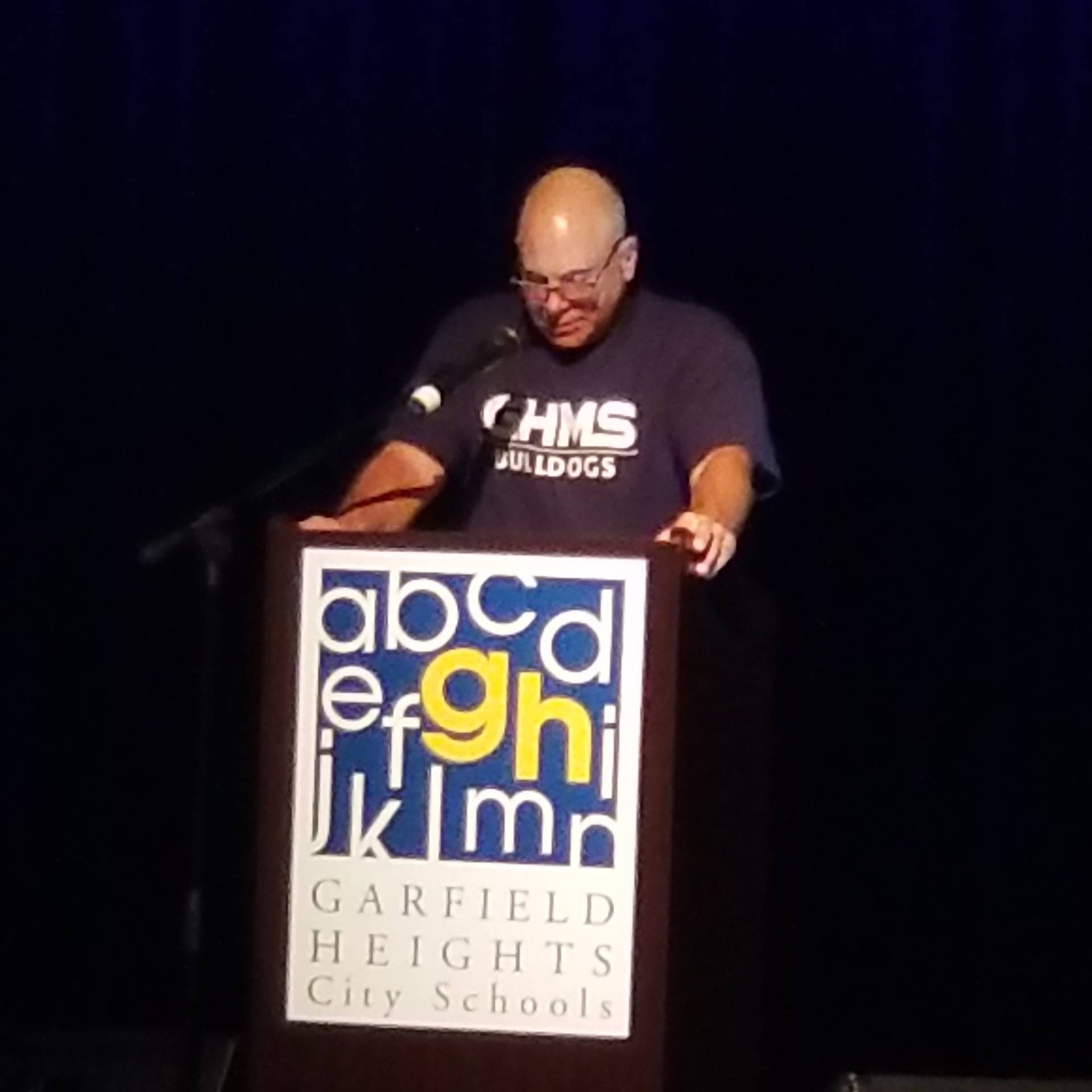 Superintendent Terry Olszewski in a GHMS t-shirt