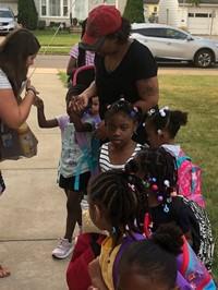 kindergarten girls line up to start school