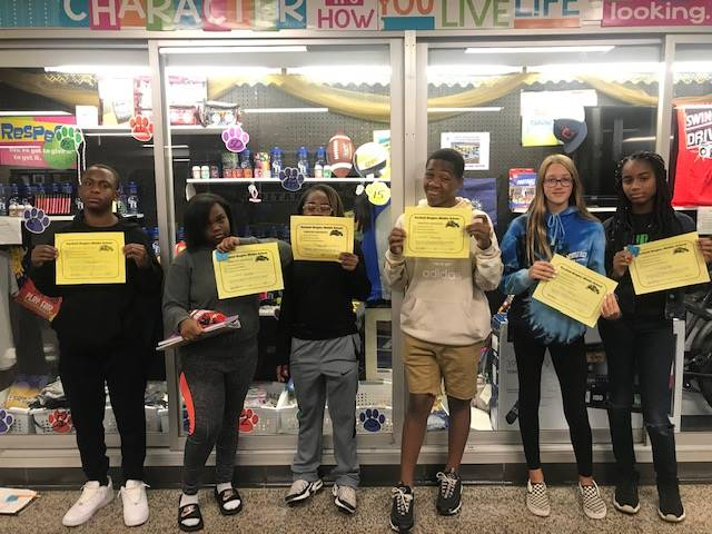 Students with their Positive behavior certificates.