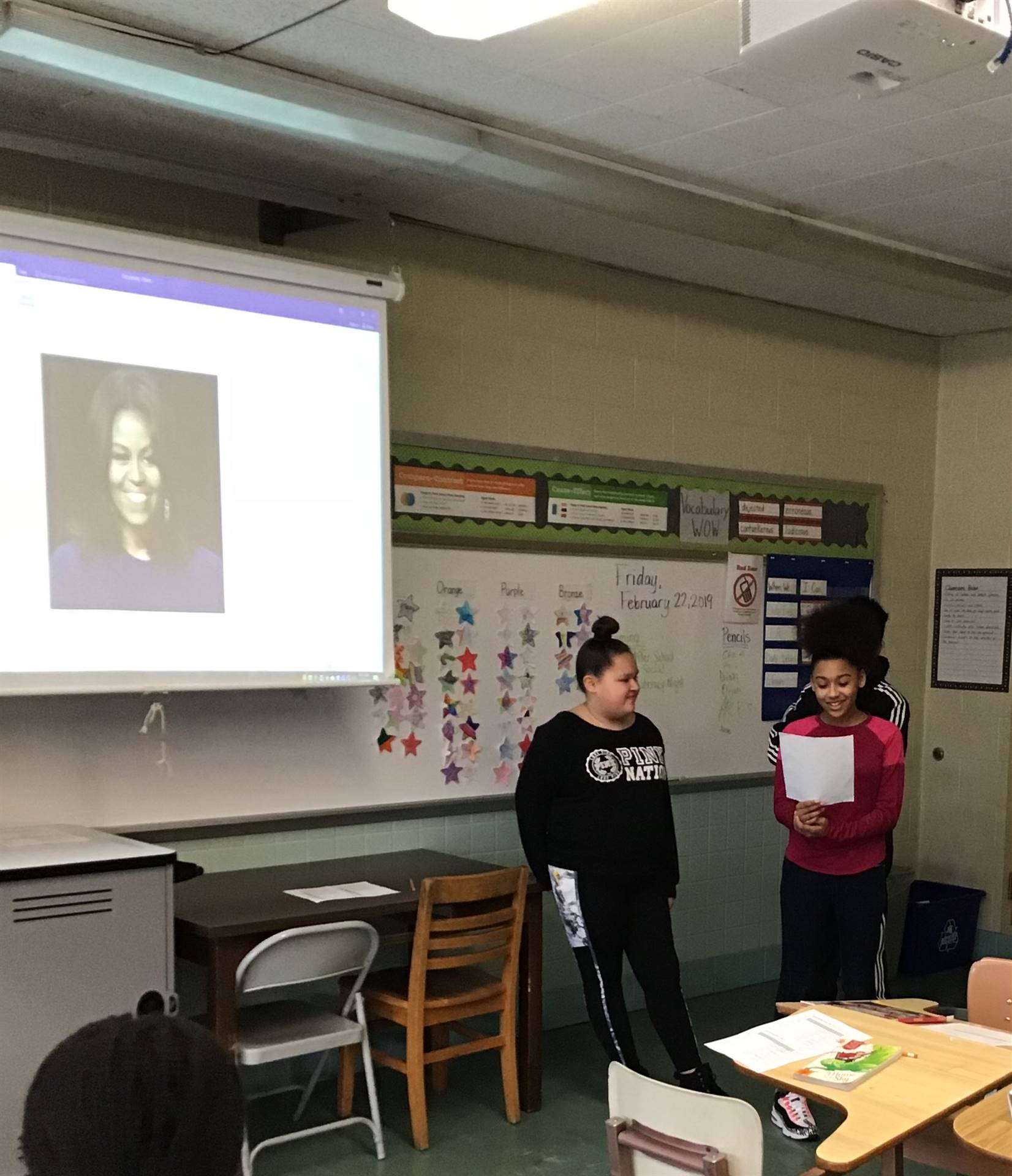 Students giving a presentation for Black History Month.