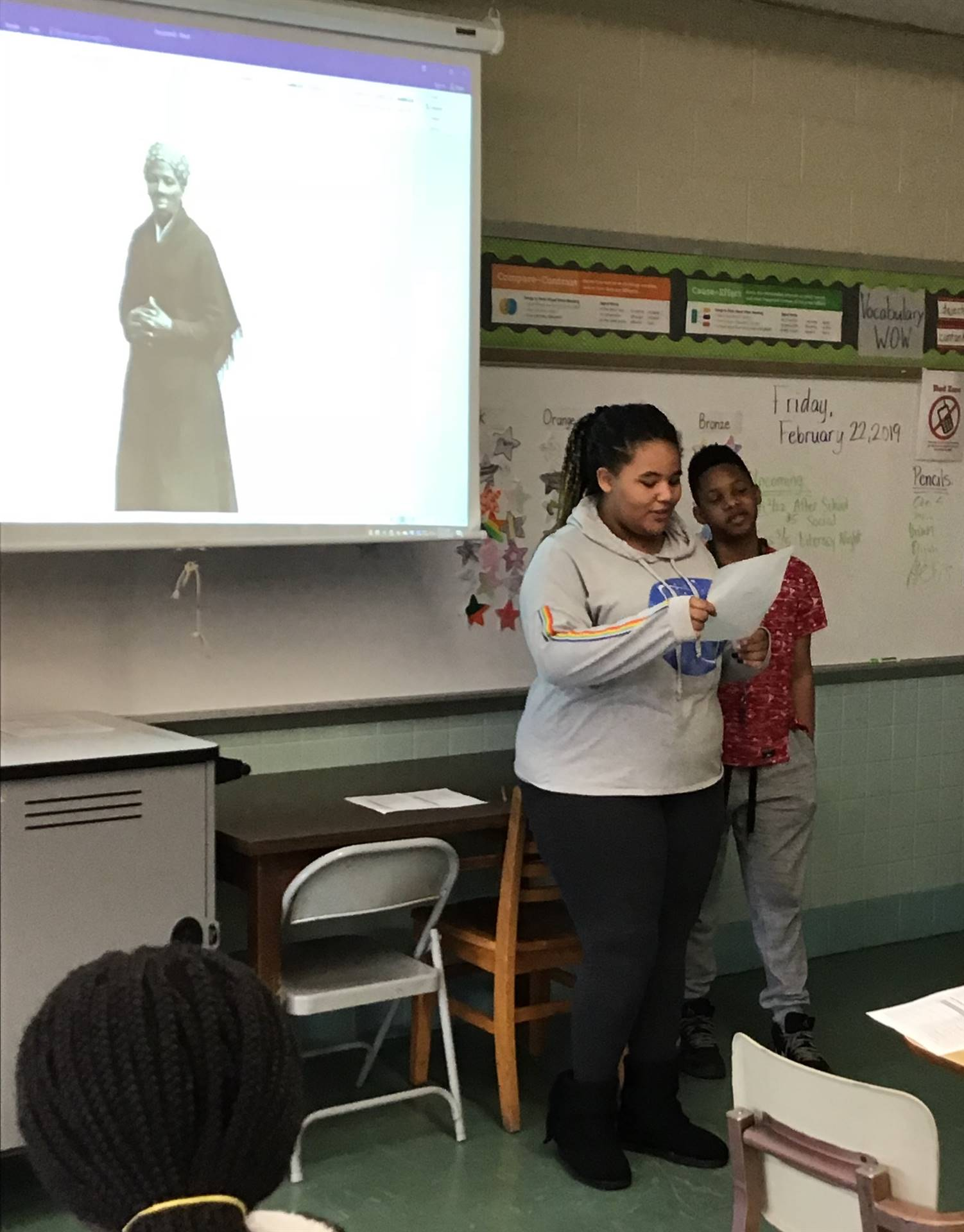 Student doing a presentation for Black History Month