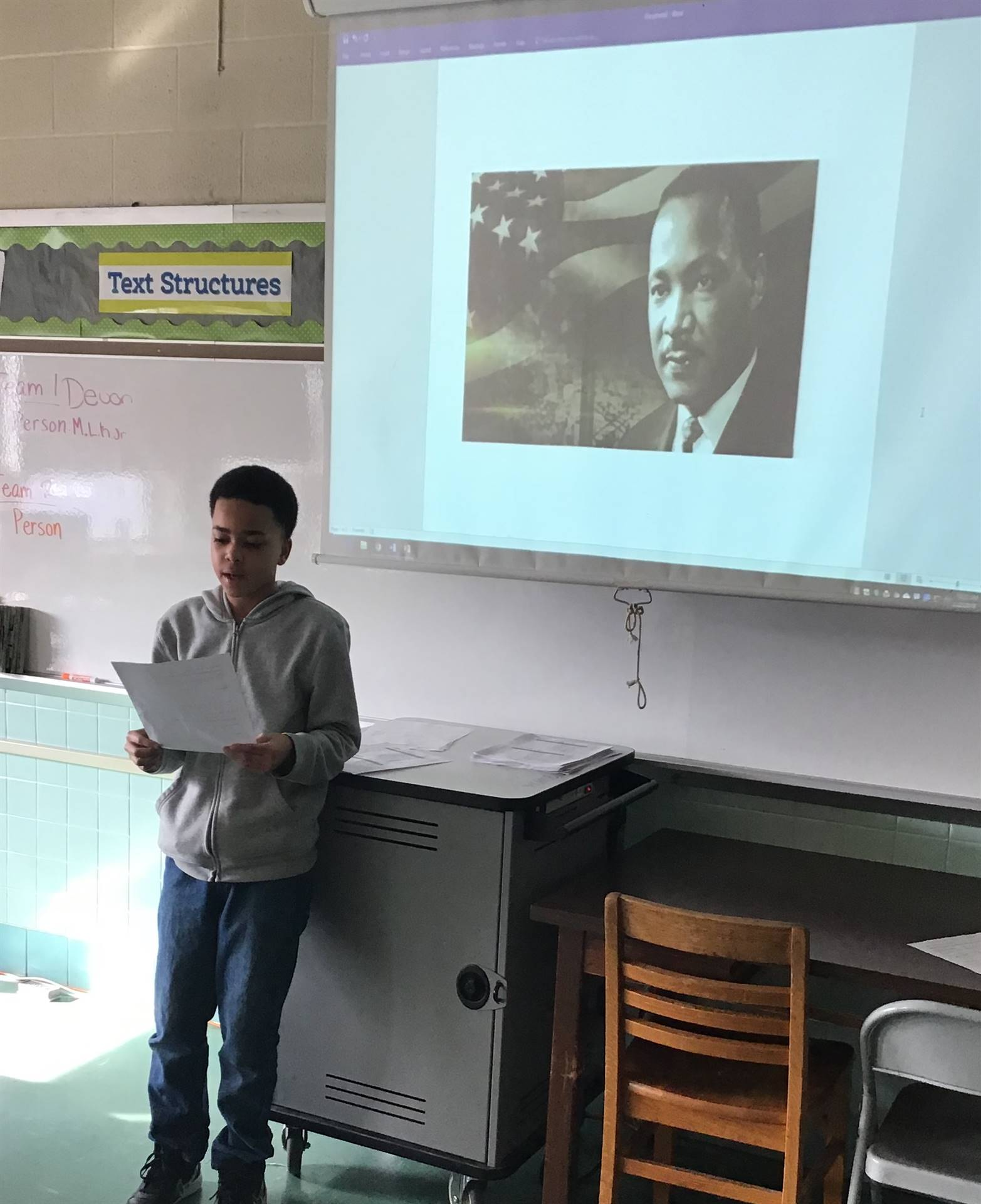 Student doing presentation on Martin Luther King, Jr.