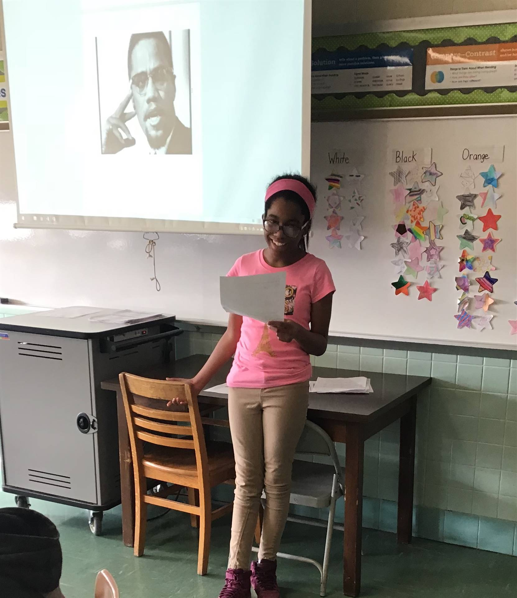 Student doing a presentation for Black History Month.