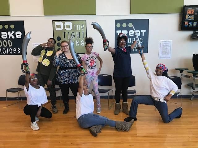 Drama club students performning