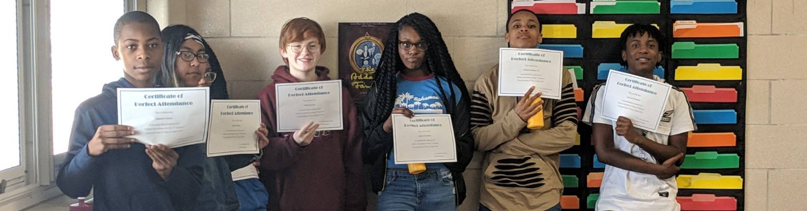 Students with Positive Behavior Award Certificates