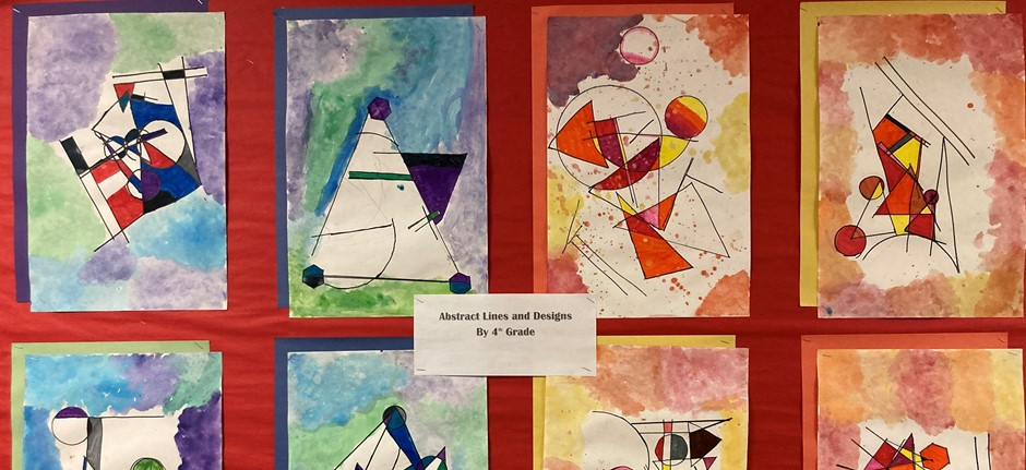 Abstract lines and design art by 4th grade