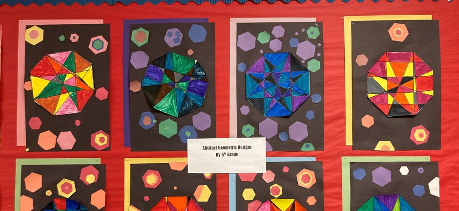 Abstract geometric designs by 5th grade